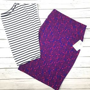 NWT LuLaRoe Purple and Red Cassie Skirt Size S